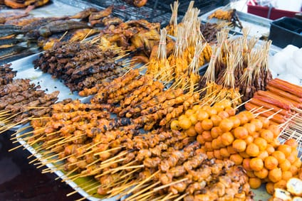Variety of Asian style barbecue stick food